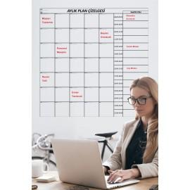 Aylık Planlayıcı Takvim 100x100 Cm Akıllı Kağıt Tahta Silgili Kalem Hediye