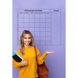 Kpss Çalışma Programı Yazı Tahtası Şeffaf Akıllı Kağıt Tahta Kalem Hediyeli 120x100 Cm