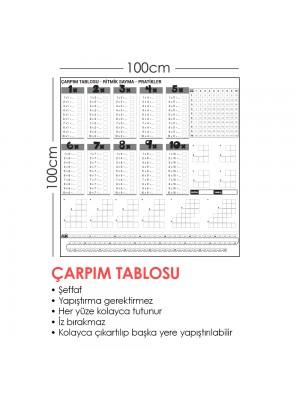 Çarpım Tablosu Akıllı Kağıt Tahta 100x100 Cm Silgili Kalem Hediyeli Duvara,Cama,Tahtaya Uygulanır