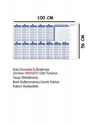 Çarpım Tablosu Yazı Tahtası Akıllı Kağıt Tahta Ingilizce 100x56 Cm 1 Adet Kalem PK-70