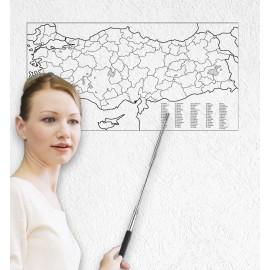 Türkiye Haritası Akıllı Kağıt Tahta 93x48 Cm Silgili Kalem Hediyeli Duvara,Cama,Tahtaya Uygulanır