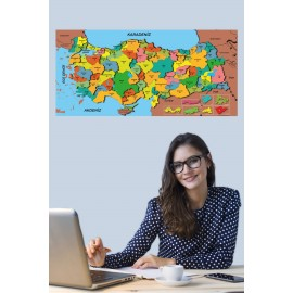 Türkiye Haritası Akıllı Kağıt Tahta Yazı Tahtası Özel Baskılı Renkli Dekoratif