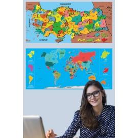 Tutunabilir Kağıt Dekoratif Tablo Eğitici Türkiye Ve Dünya Haritası Çocuk Duvar Sticker Yazı Tahtası Kağıt Tahta 2 Set