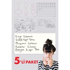 5'li Eğitim Seti Okul Öncesi Dönem İçin Yazı Tahtası Akıllı Kağıt Tahta