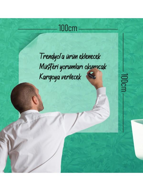 2 Adet Şeffaf Akıllı Kağıt Tahta 100x100 Cm Şeffaf Yazı Tahtası Kalem Hediye